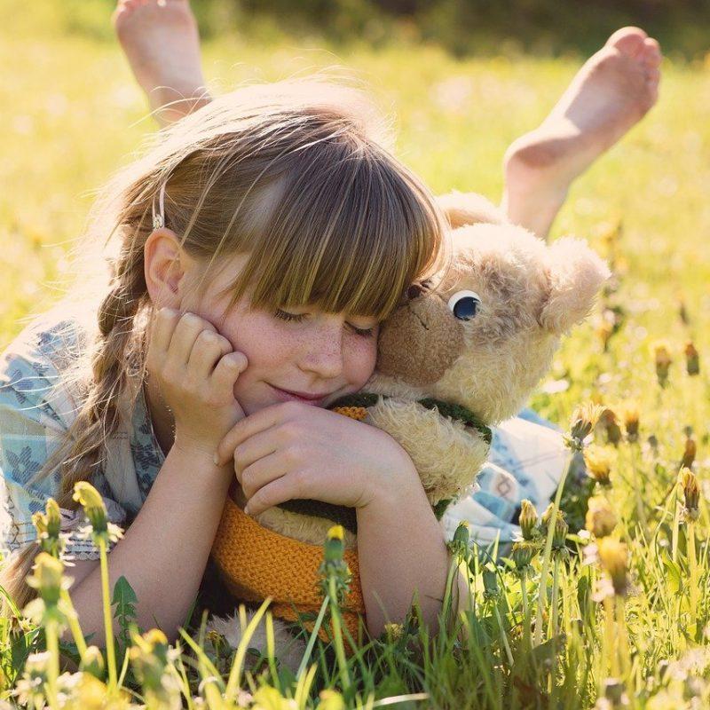 girl, teddy bear, snuggle